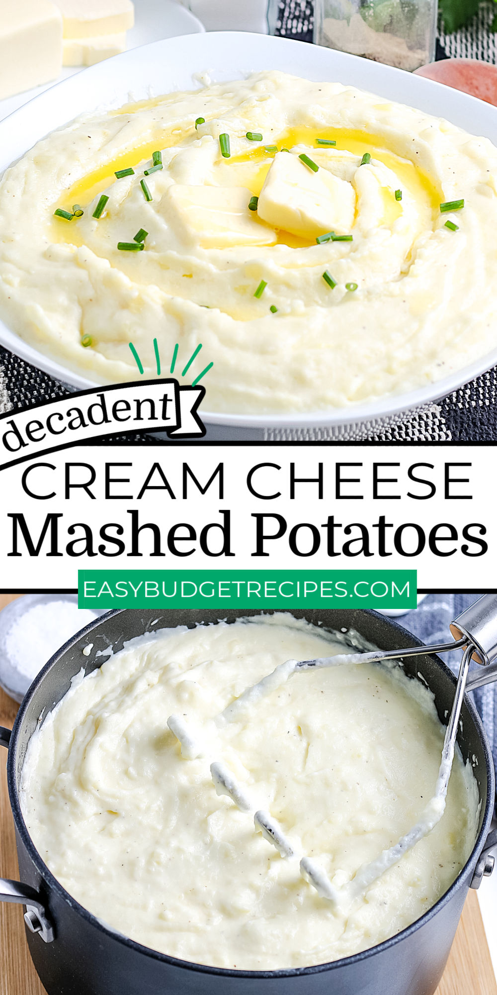 This Mashed Potatoes With Cream Cheese recipe is a bit on the naughty side because they're made with Yukon Gold potatoes, butter, cream, and cream cheese (we told you they were naughty!). They're the perfect side dish for Thanksgiving, Christmas, Easter, and family dinners. via @easybudgetrecipes