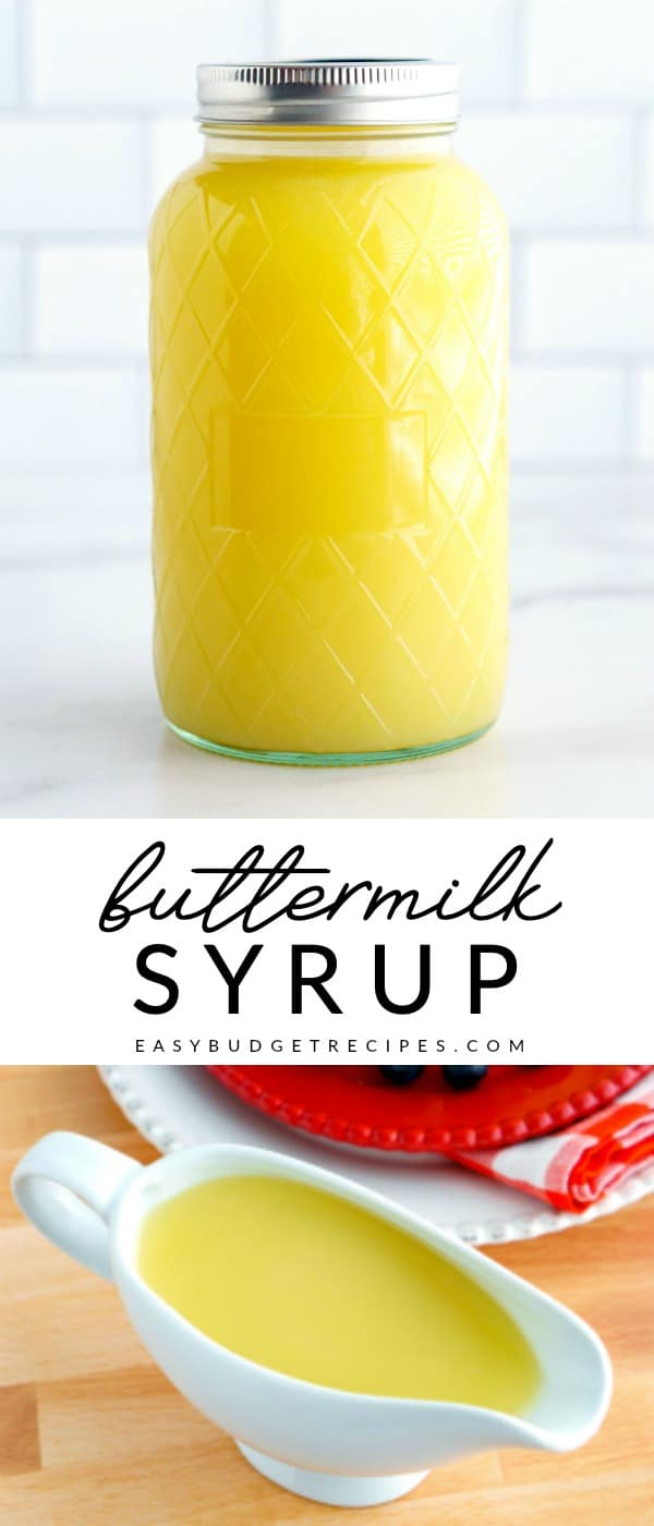 This Homemade Buttermilk Syrup recipe will take your pancakes and waffles to the next level! It's so easy to make and incredibly irresistible. Plus, this recipe costs just $2.78 to make. via @easybudgetrecipes