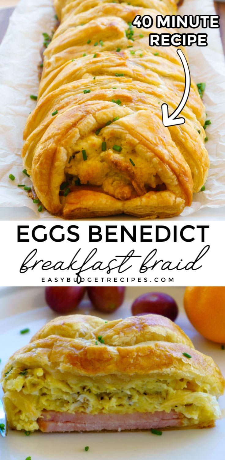 Make this delicious, guest-worthy Eggs Benedict Breakfast Braid for holiday breakfast, brunch, brinner, or anytime! It costs $5.27 to make; that's just 88¢ per serving! via @easybudgetrecipes