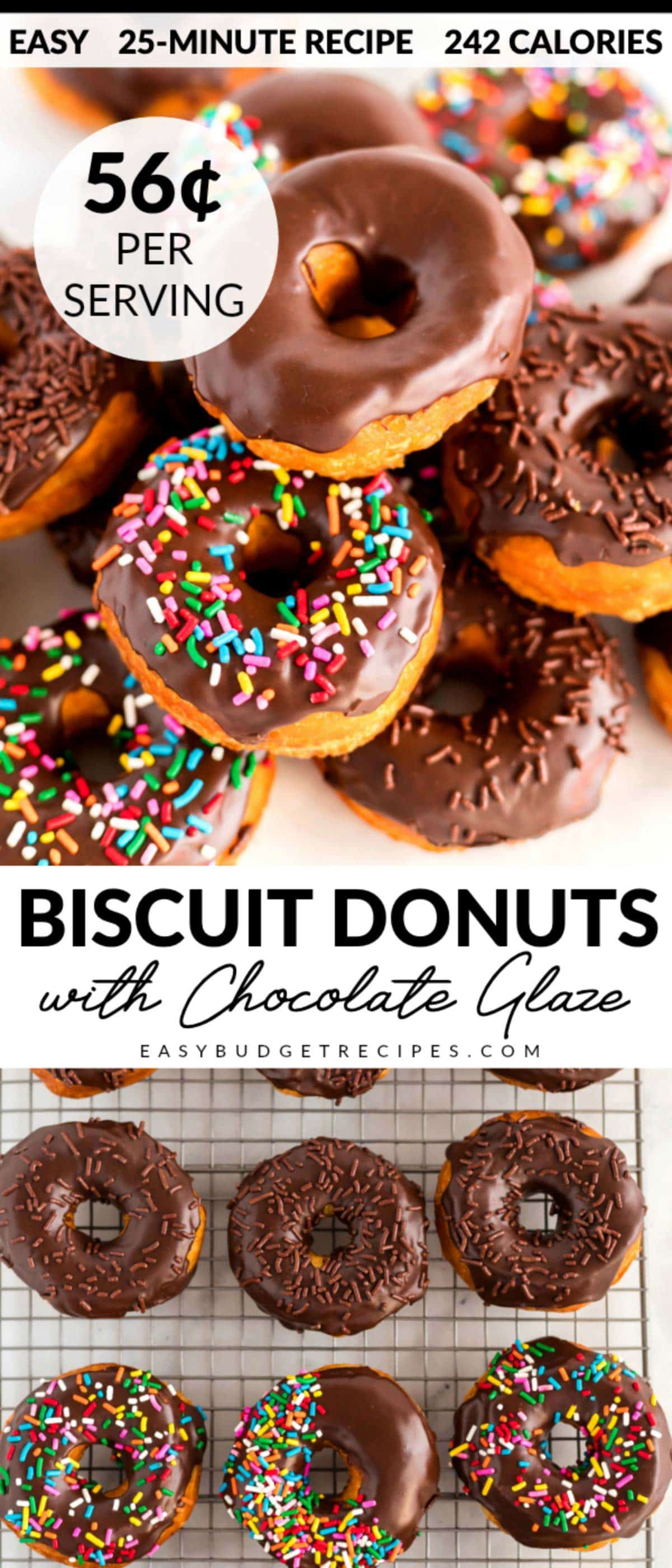 Chocolate Glazed Donuts are so easy and take just 25 minutes to make 16 and 16 donut holes! They cost $8.89 to make, that's 56¢ per serving! via @easybudgetrecipes