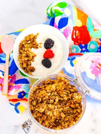 Overhead picture of granola and a bowl of yogurt.