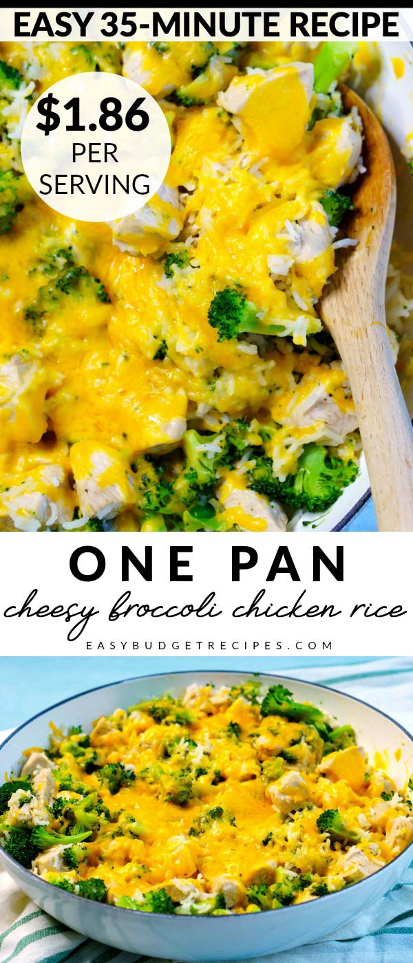 It doesn't get any easier than this One Pan Cheesy Broccoli Chicken Rice recipe. It serves 6 and costs $11.16 to make, that's just $1.86 per serving! via @easybudgetrecipes