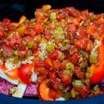 Machaca ingredients in a slow cooker before cooking.