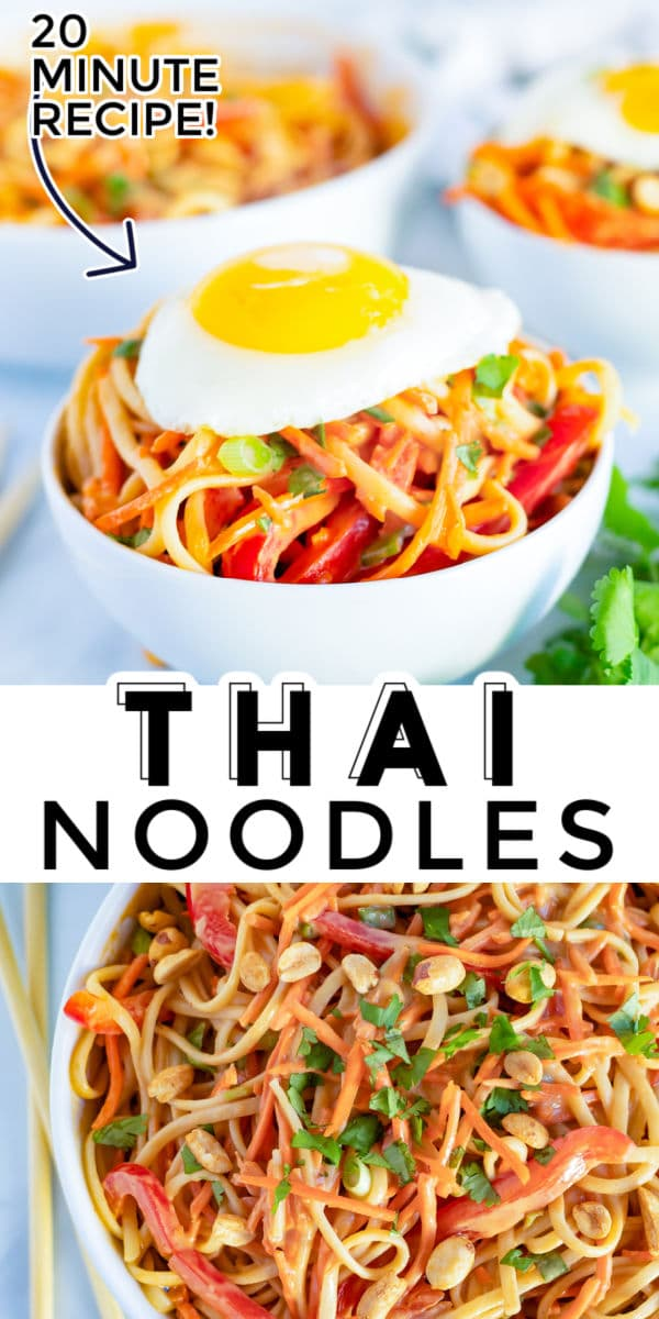 These 20-Minute Thai Peanut Noodles are full of veggies, covered in an easy peanut sauce, and topped with a fried egg. The secret to this recipe is in the sauce; it puts this recipe over the top. via @easybudgetrecipes