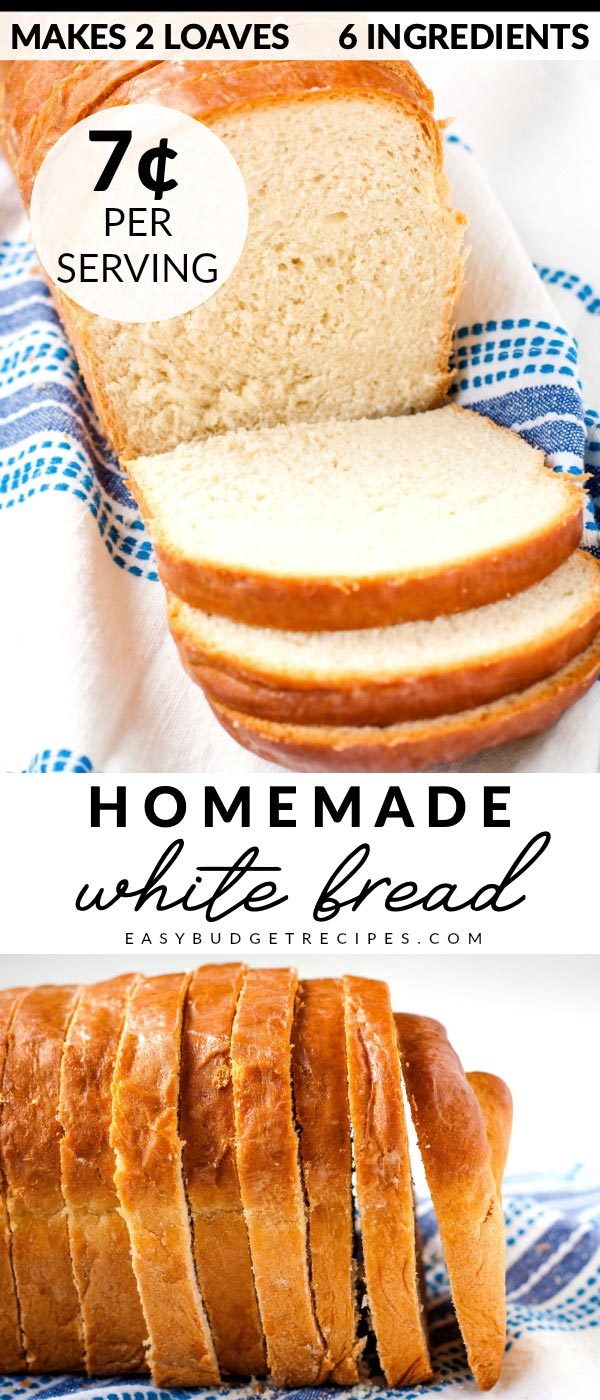 Homemade White Bread picture collage with text overlay for Pinterest.
