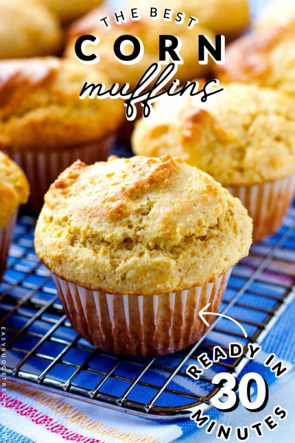 Finished Cornbread muffins with text overlay for Pinterest.