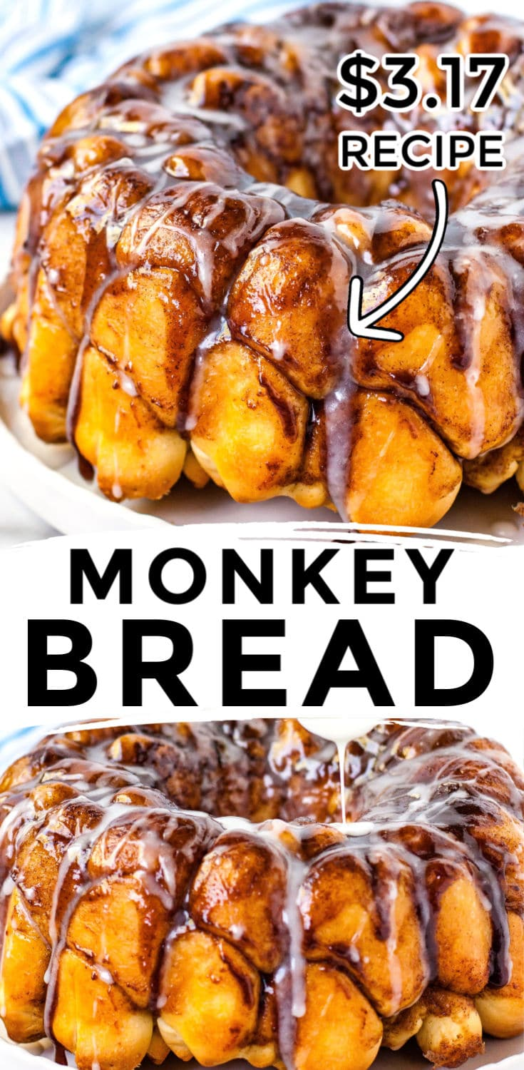 This Homemade Monkey Bread recipe is easy to make and made of sweet and gooey dough balls and a simple icing. It serves 8, and takes 100 minutes and $3.17 to make. That's just 40¢ per serving! via @easybudgetrecipes