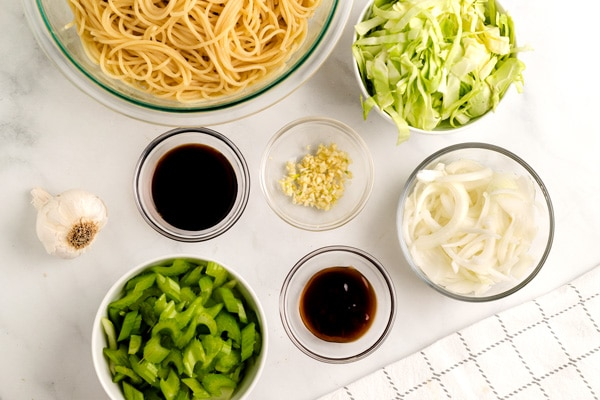 An overhead picture of all of the ingredients needed for the Panda Express Chow Mein recipe.