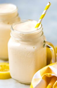 Close up picture of Frosted Lemonade in a glass.