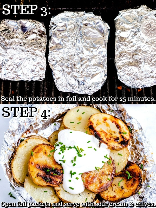 Picture collage of the steps to make the potatoes.