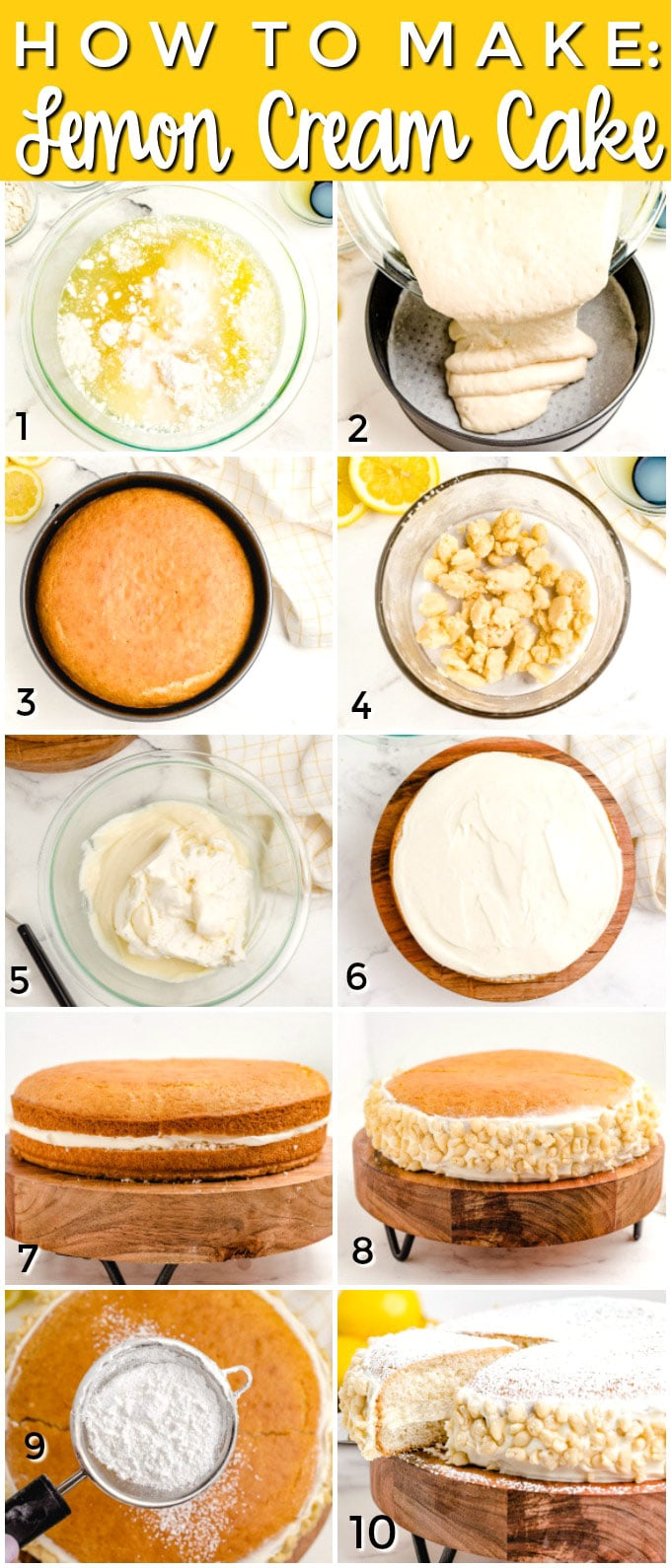 Picture collage showing the steps of how to make this Lemon Cream Cake.