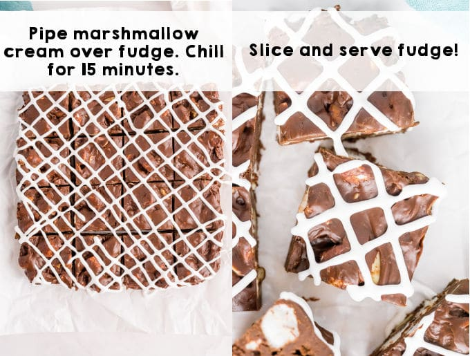 The fudge drizzled with marshmallow creme and cut into pieces.