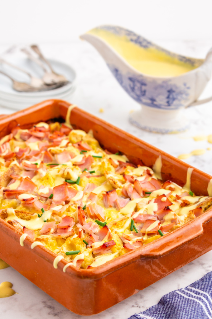 The finished eggs benedict casserole in the baking dish.