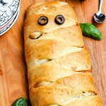 A close up of the mummy calzone.