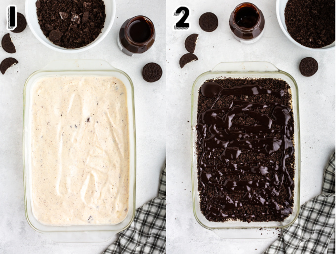 The first layer of ice cream and Oreo cookie crumbs spread into the pan.
