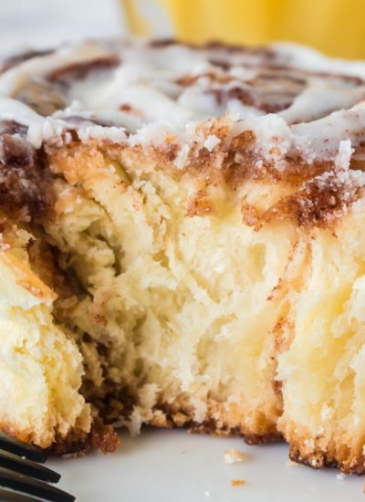 A close up picture of inside a cinnamon roll.