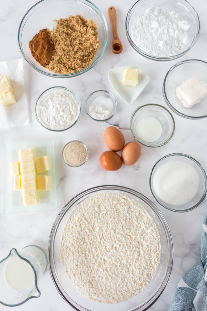 All of the ingredients needed to make Overnight Cinnamon Rolls.