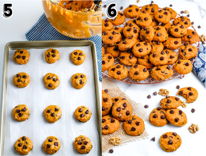 The cookie dough scooped onto cookie sheets.