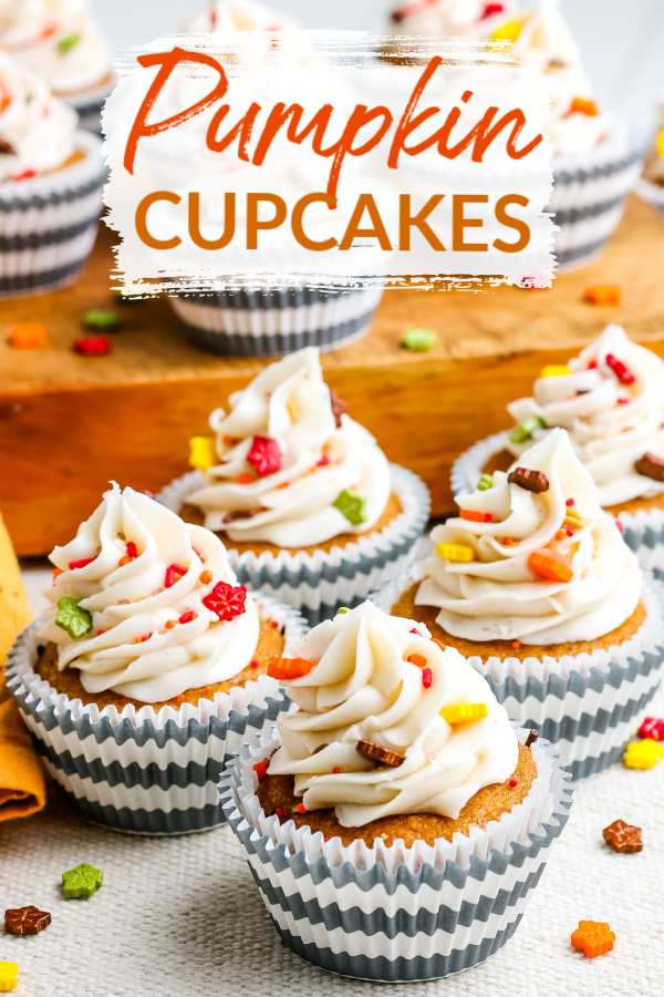These Pumpkin Cupcakes with Cream Cheese Frosting are perfectly spiced and just the dessert for fall. This recipe makes a large batch of 24-30 cupcakes, which makes it perfect for potlucks and bake sales! via @easybudgetrecipes