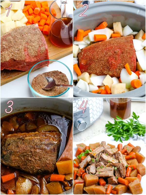 The pot roast and vegetables in the slow cooker after they're cooked.