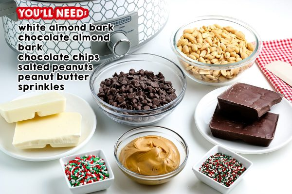 All of the ingredients needed to make Christmas Crockpot Candy
