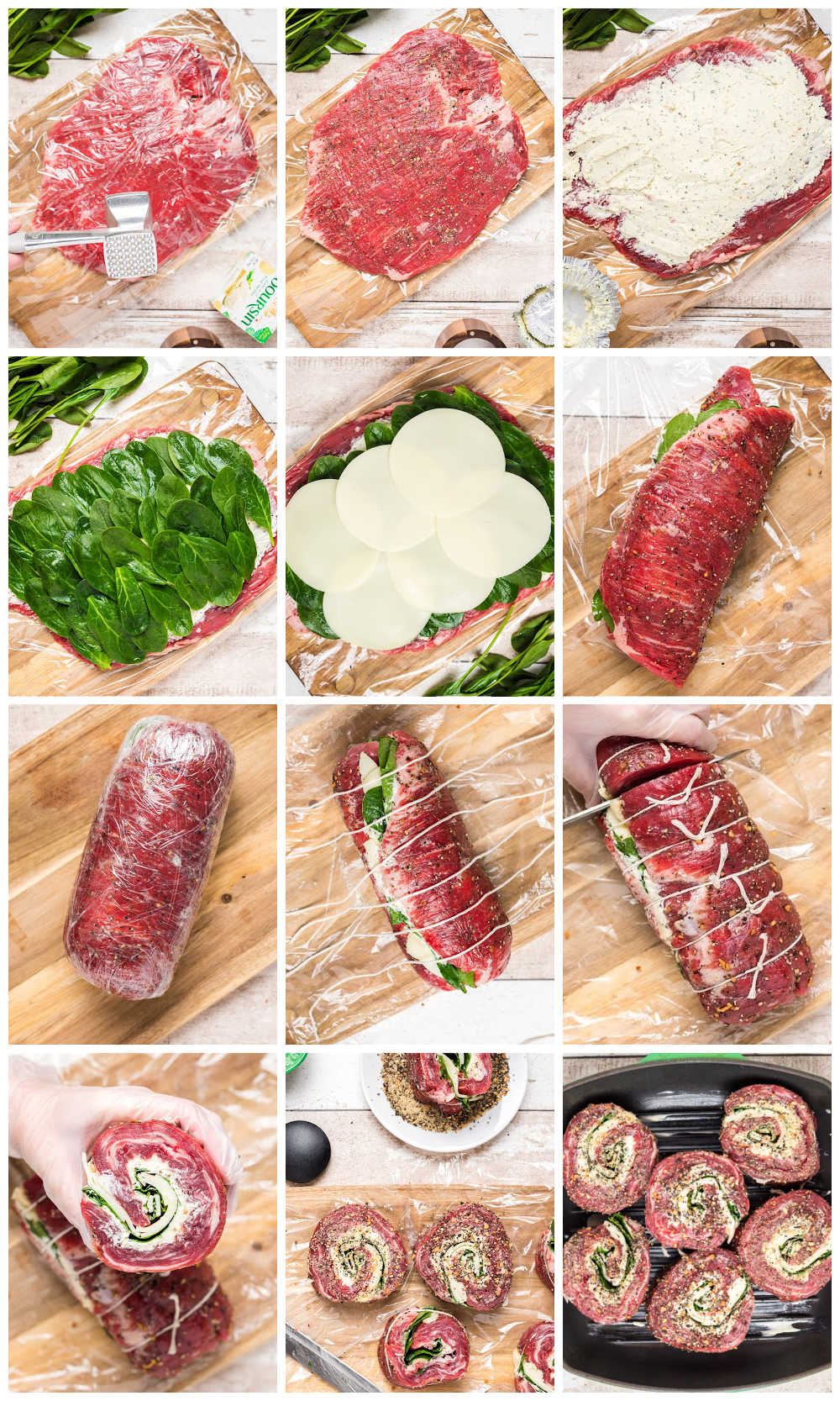 A picture collage of how to make Flank Steak Pinwheels.
