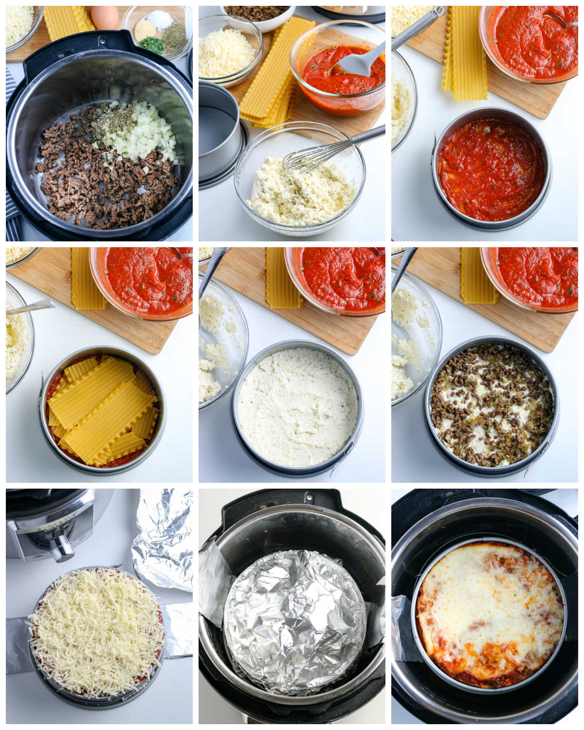 A picture collage of how to make Instant Pot Lasagna.