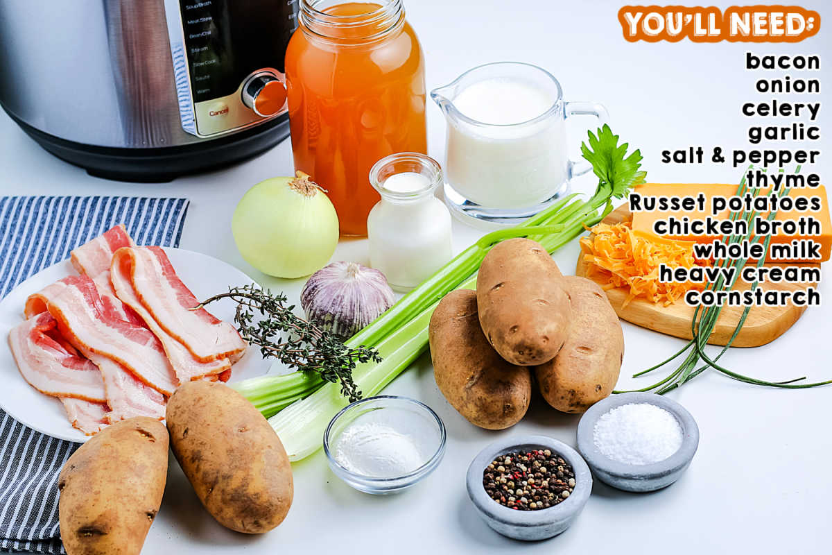 All of the ingredients needed to make Instant Pot Potato Soup.