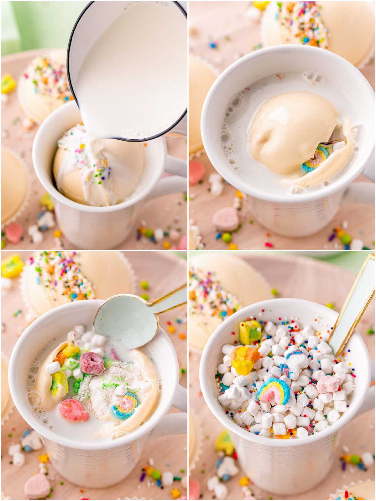 A picture collage of how to make Rainbow White Hot Chocolate.