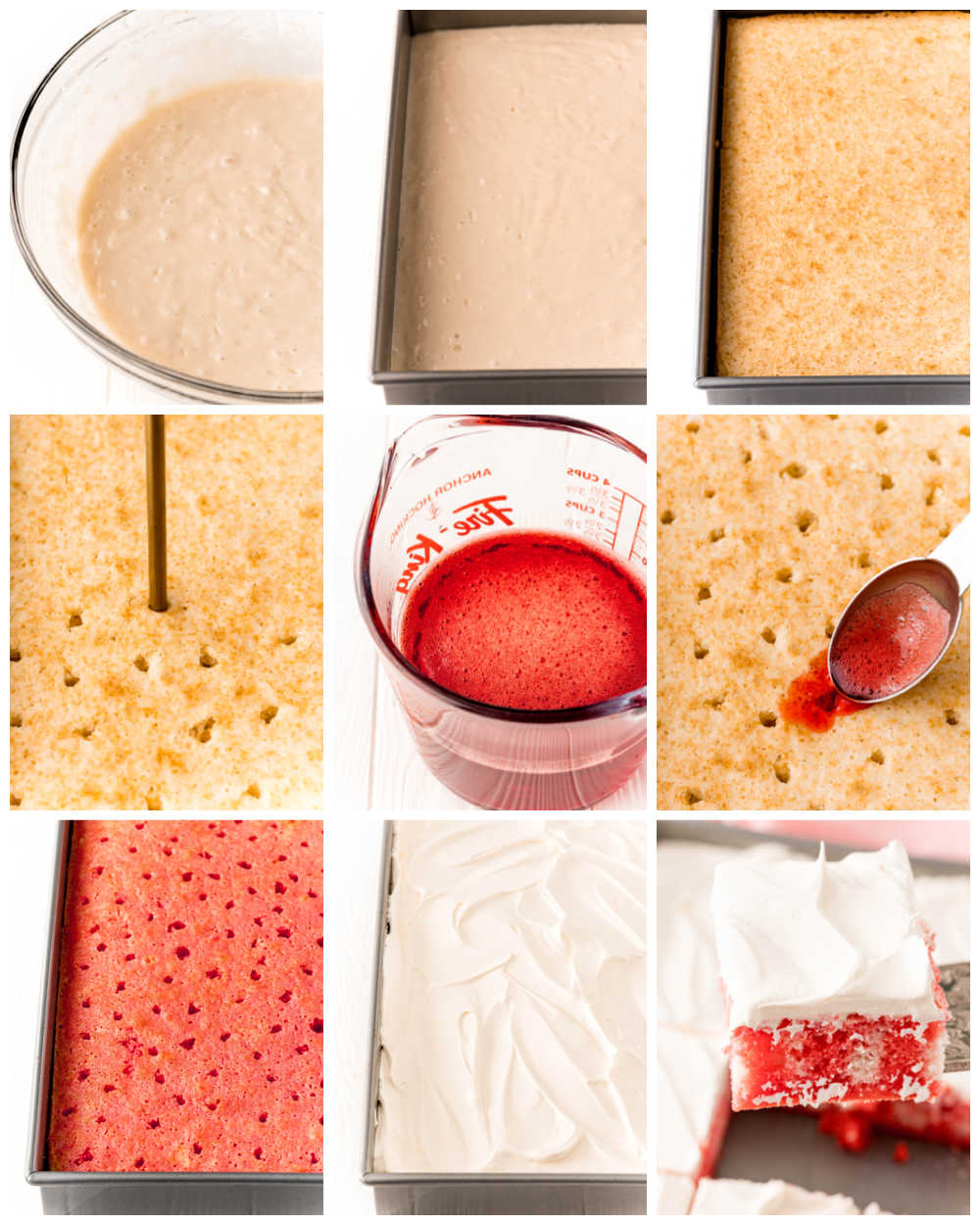 A step-by-step picture collage of how to make Raspberry Jello Poke Cake.