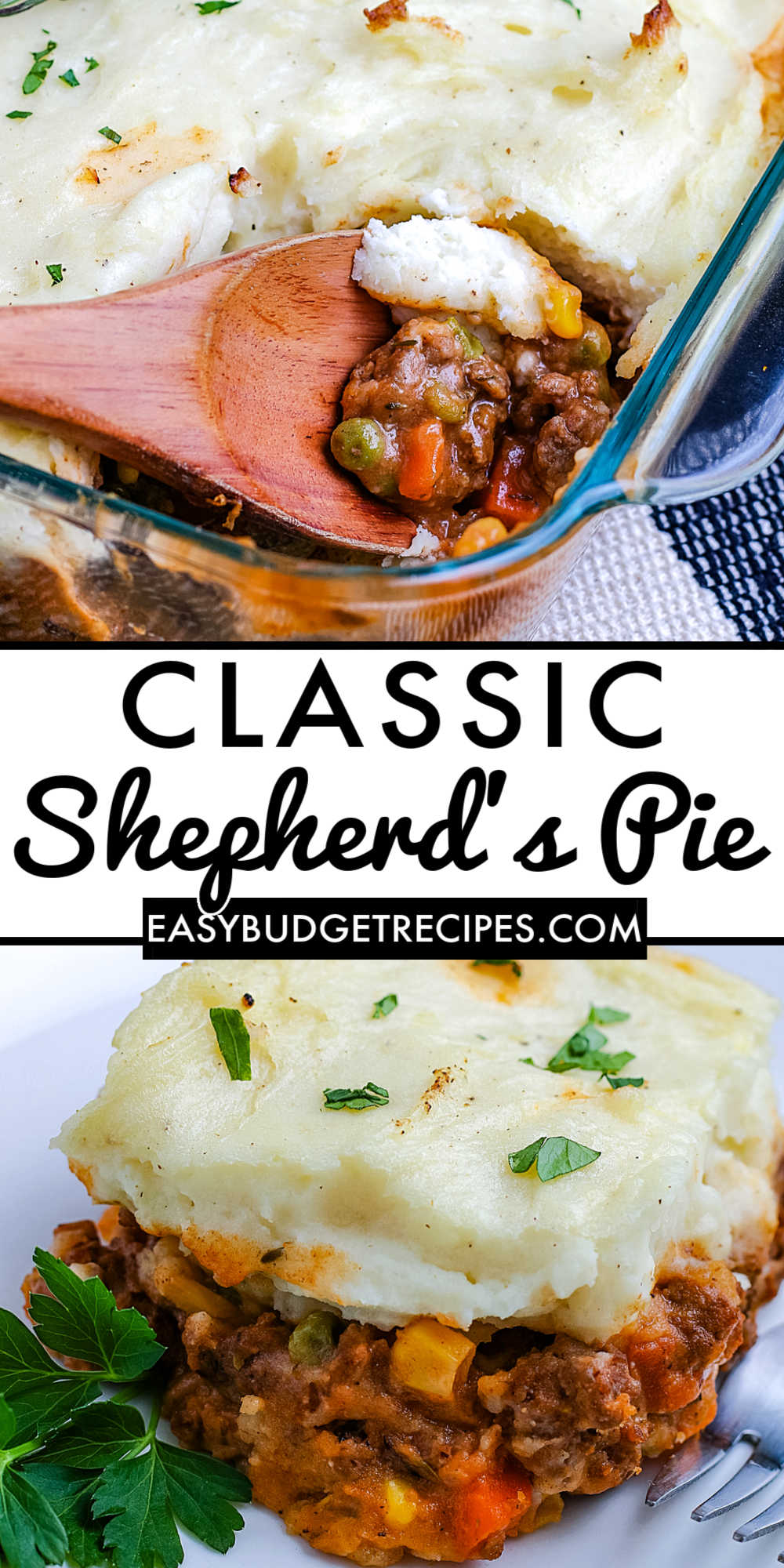 Our Shepherd's Pie recipe is some serious comfort food! It's made with ground beef, vegetables, a rich brown sauce, and mashed potatoes. via @easybudgetrecipes