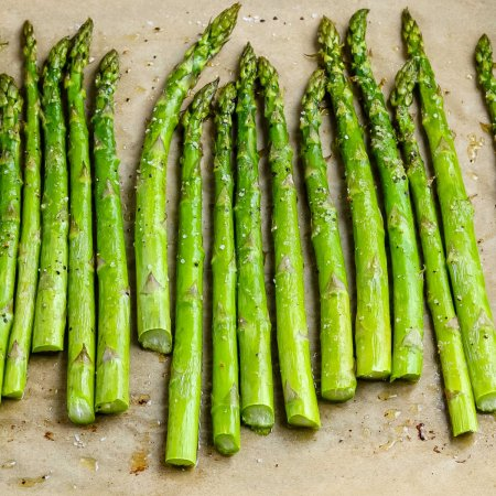 The finished Asparagus Roasted in the Oven on a baking sheet.