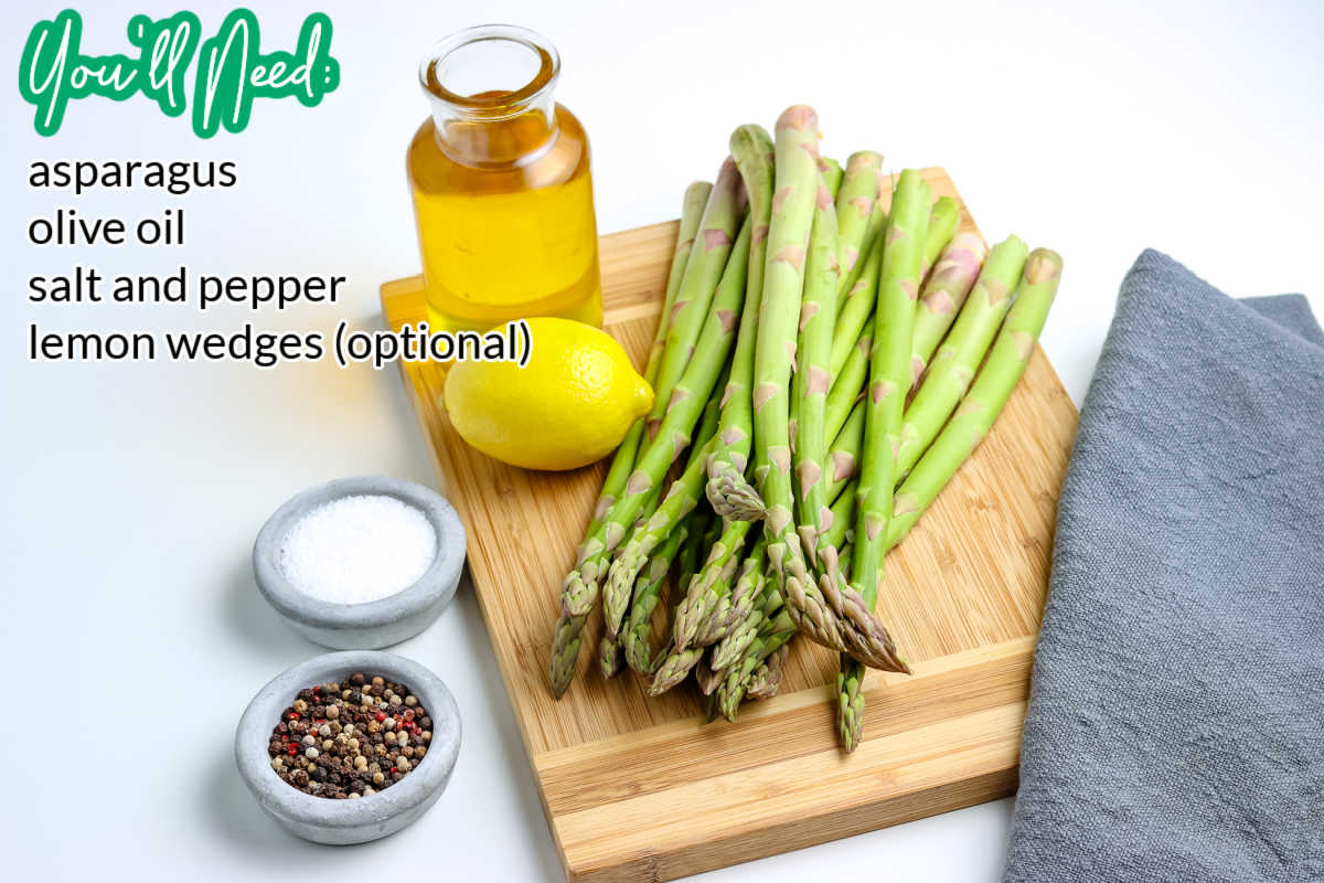 All of the roasted asparagus ingredients.
