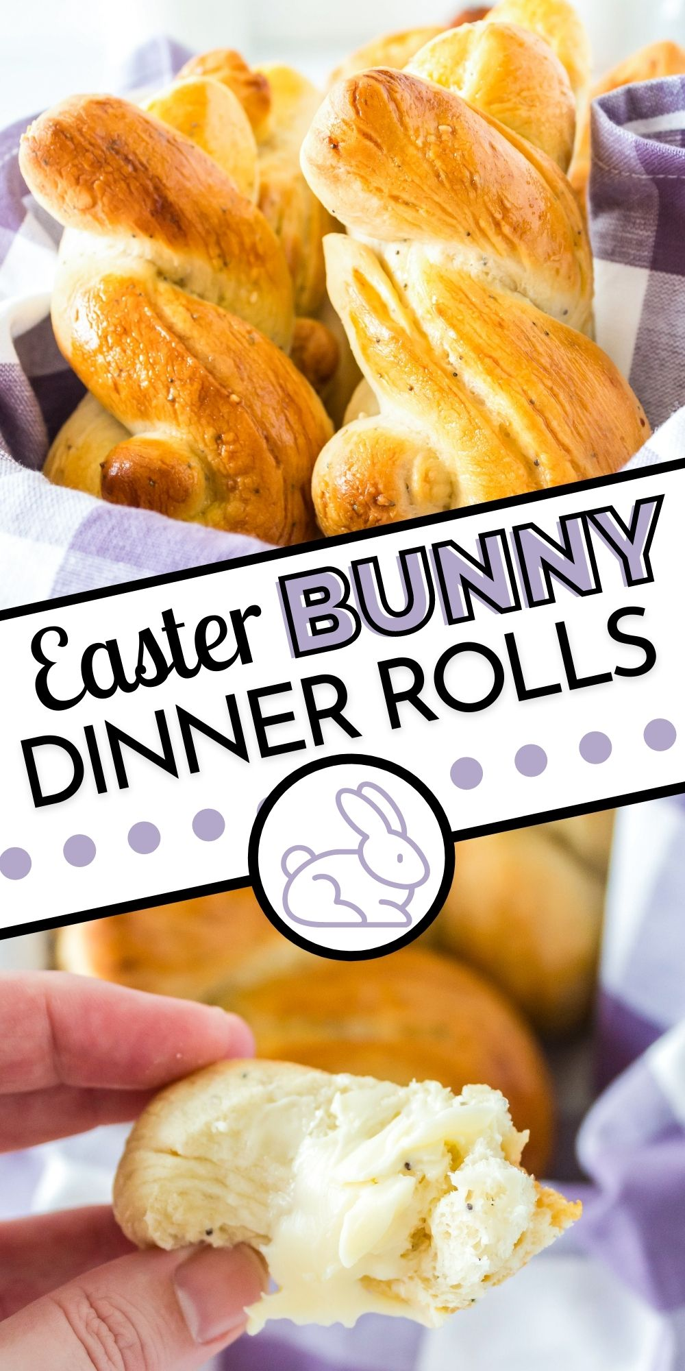 These Easter Bunny Rolls are fun and festive dinner rolls for your Easter dinner. They're flavored with garlic, onion powder, sesame seeds, and poppy seeds. via @easybudgetrecipes