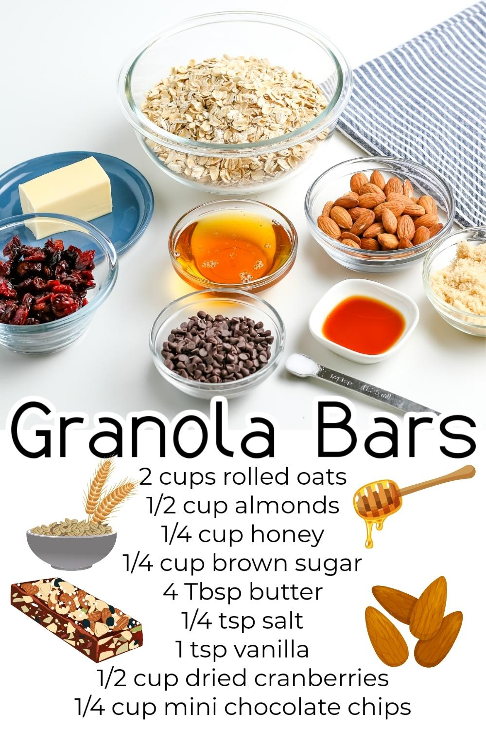 All of the ingredients needed to make this Homemade Granola Bar Recipe.