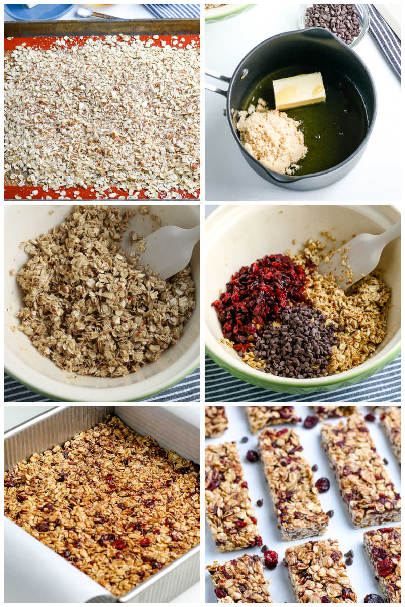 A picture collage of how to make Homemade Granola Bars.
