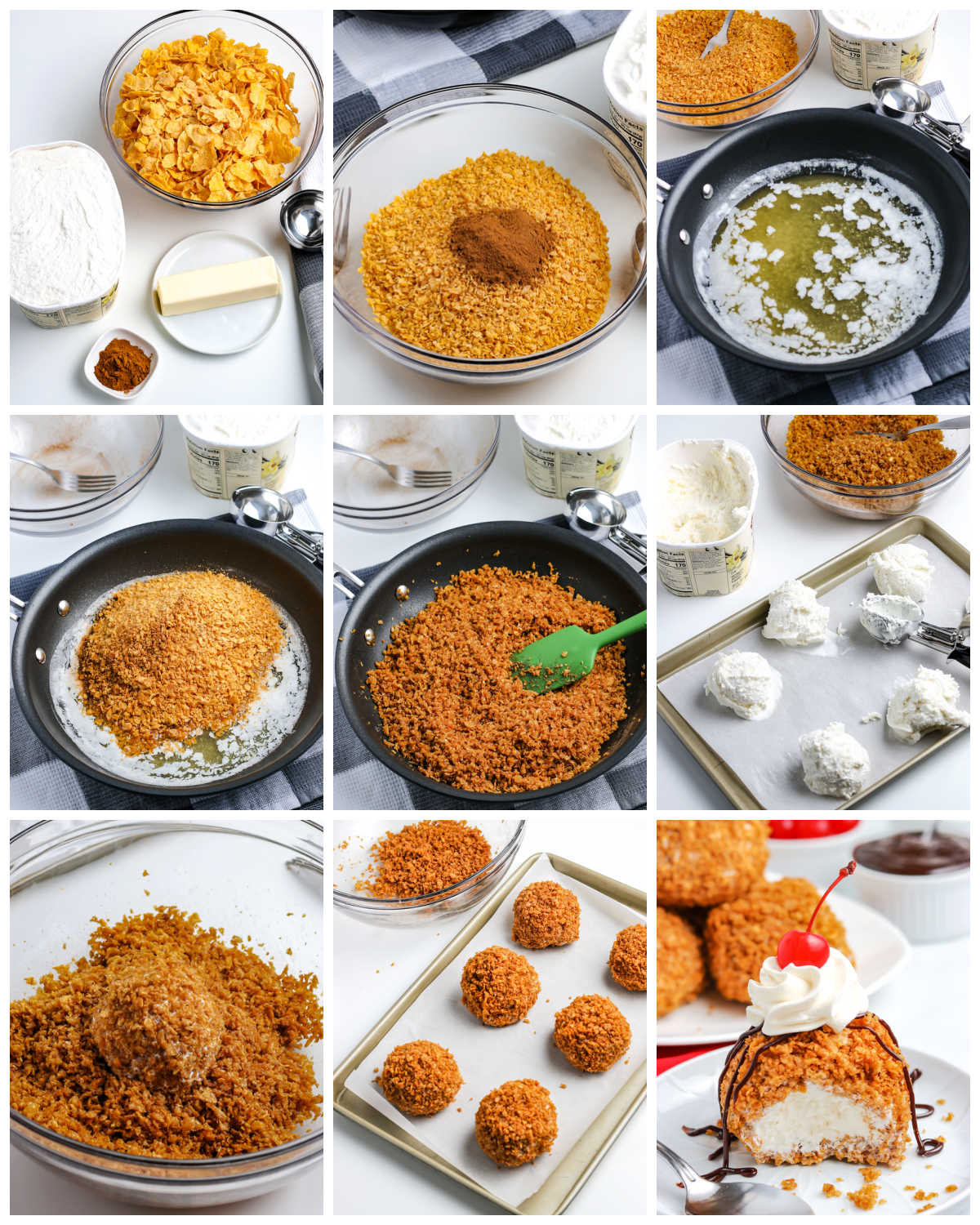 A picture collage of how to make this Fried Ice Cream recipe.