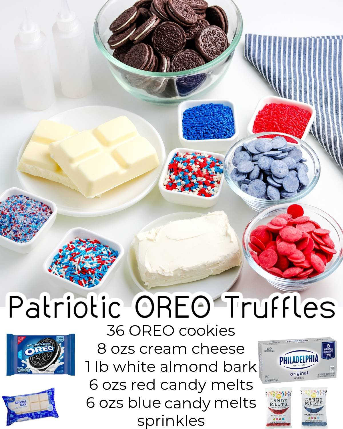 These Oreo Cream Cheese Truffles are all dressed up for patriotic holidays like Memorial Day, Fourth of July, and Labor Day. These Oreo truffles are easy to make and kids love making them!