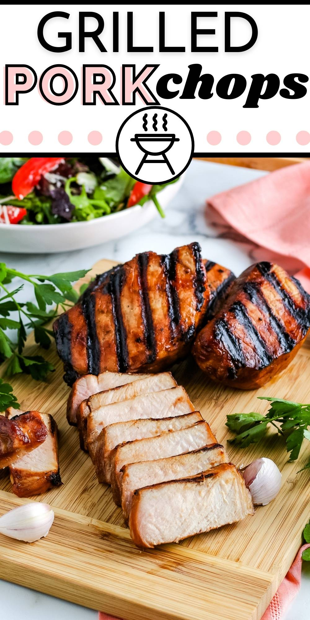 This is the Best Grilled Pork Chops recipe. It's easy to make, and it's a family favorite during the summer. The grilled pork chop marinade helps keep the meat juicy. via @easybudgetrecipes