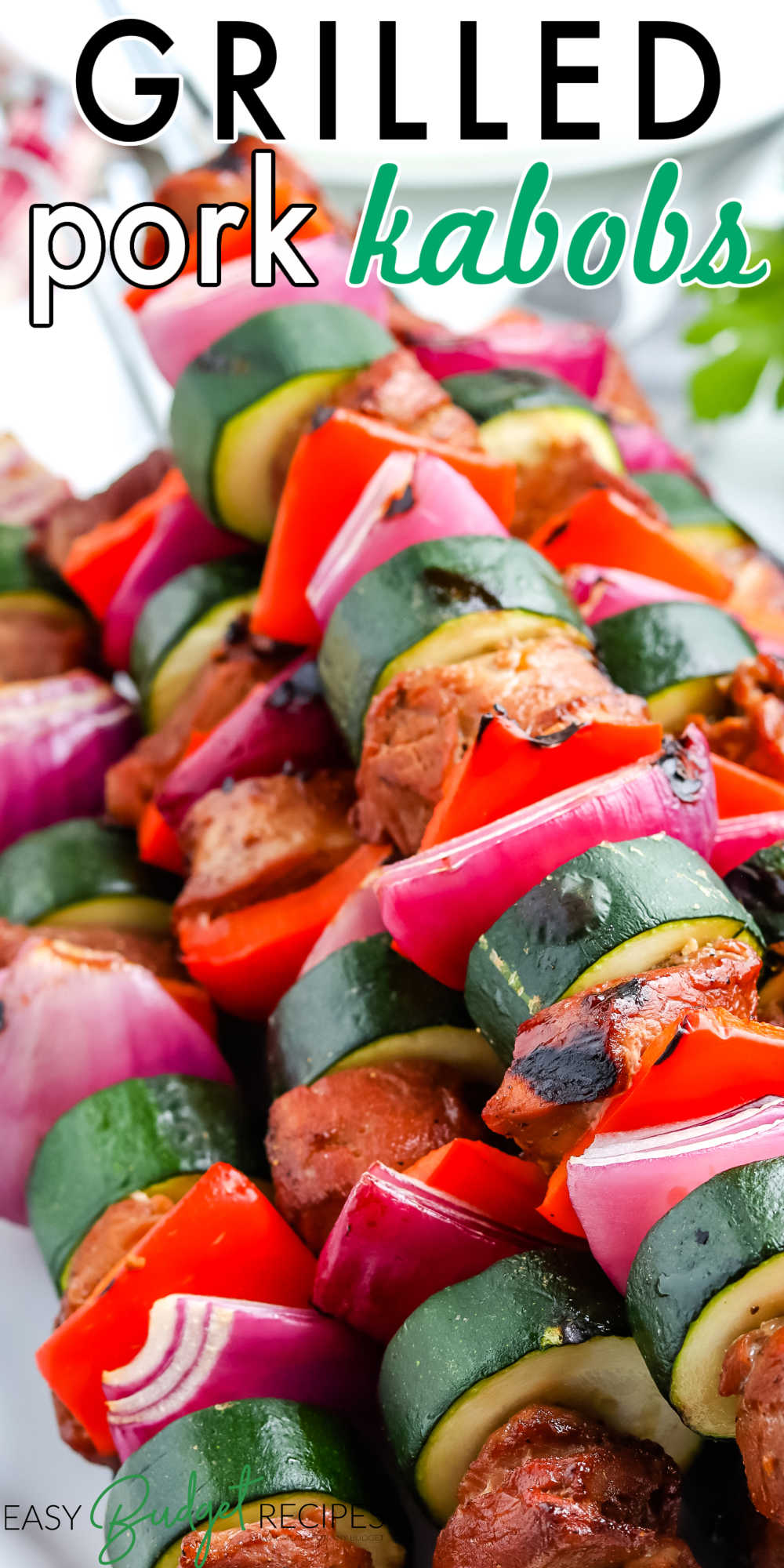 These Grilled Pork Kabobs are flavorful and easy to customize. The pork shish kabob marinade helps make them juicy and delectable. via @easybudgetrecipes