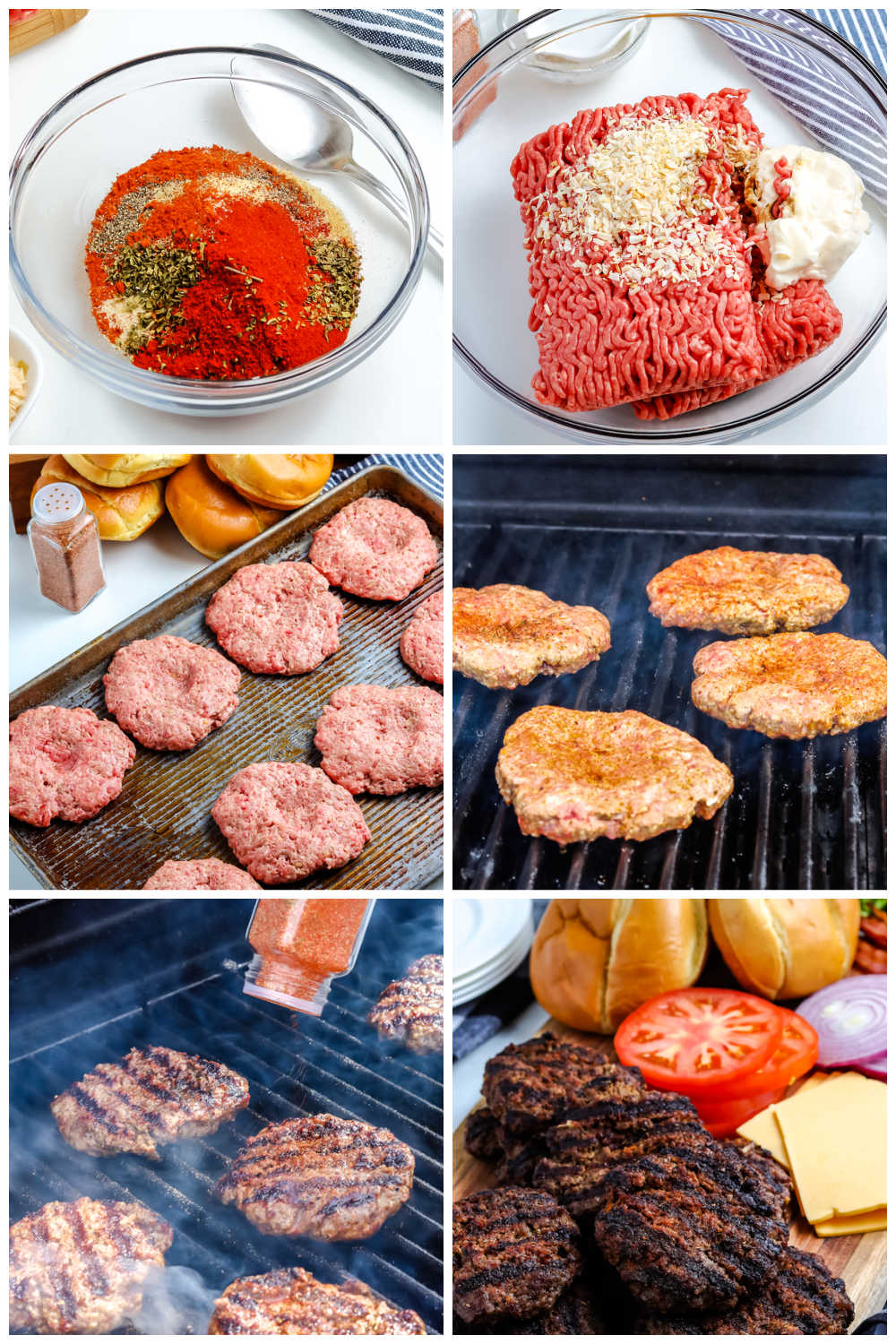 A picture collage of how to make the best grilled hamburgers.