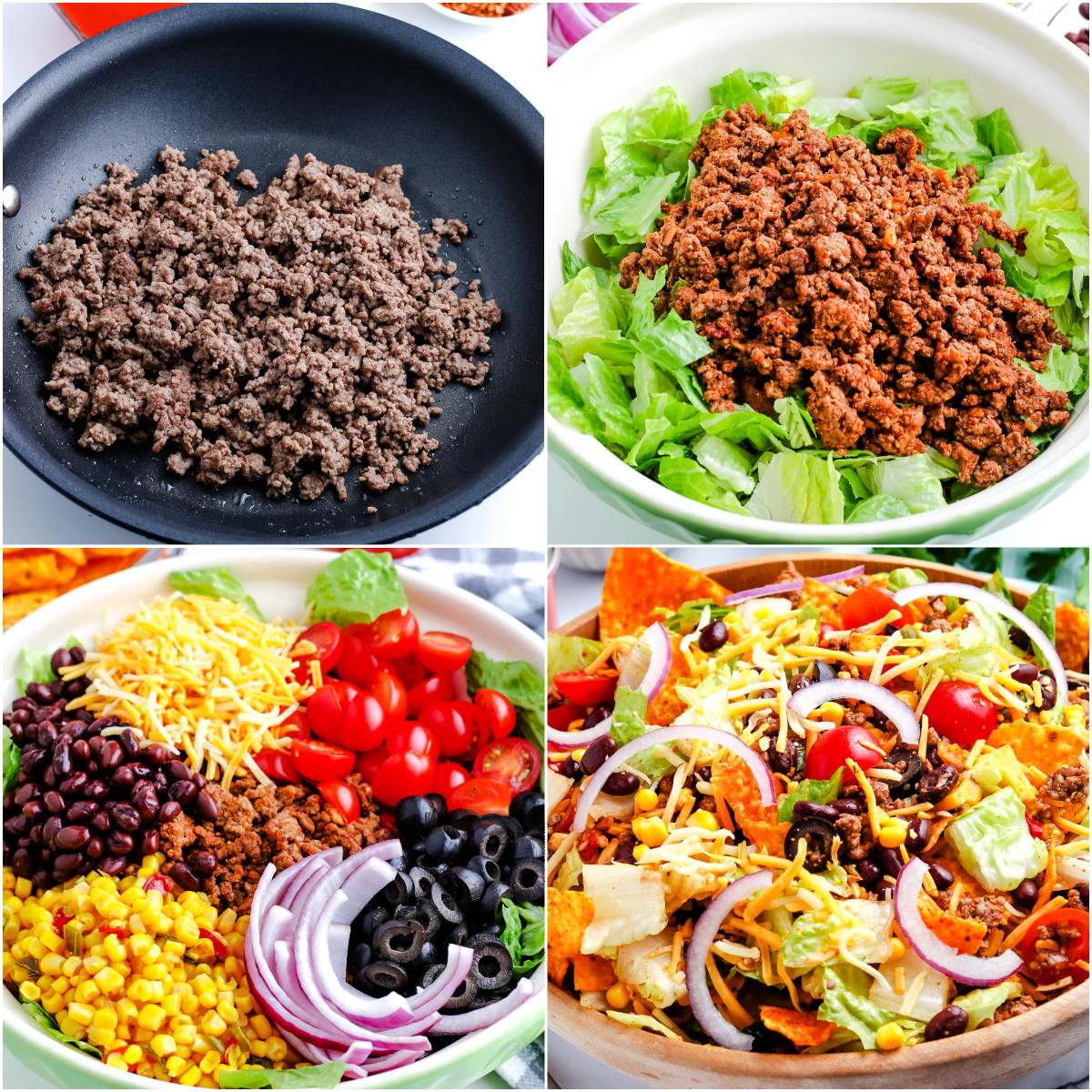 A picture collage of how to make Dorito Taco Salad.