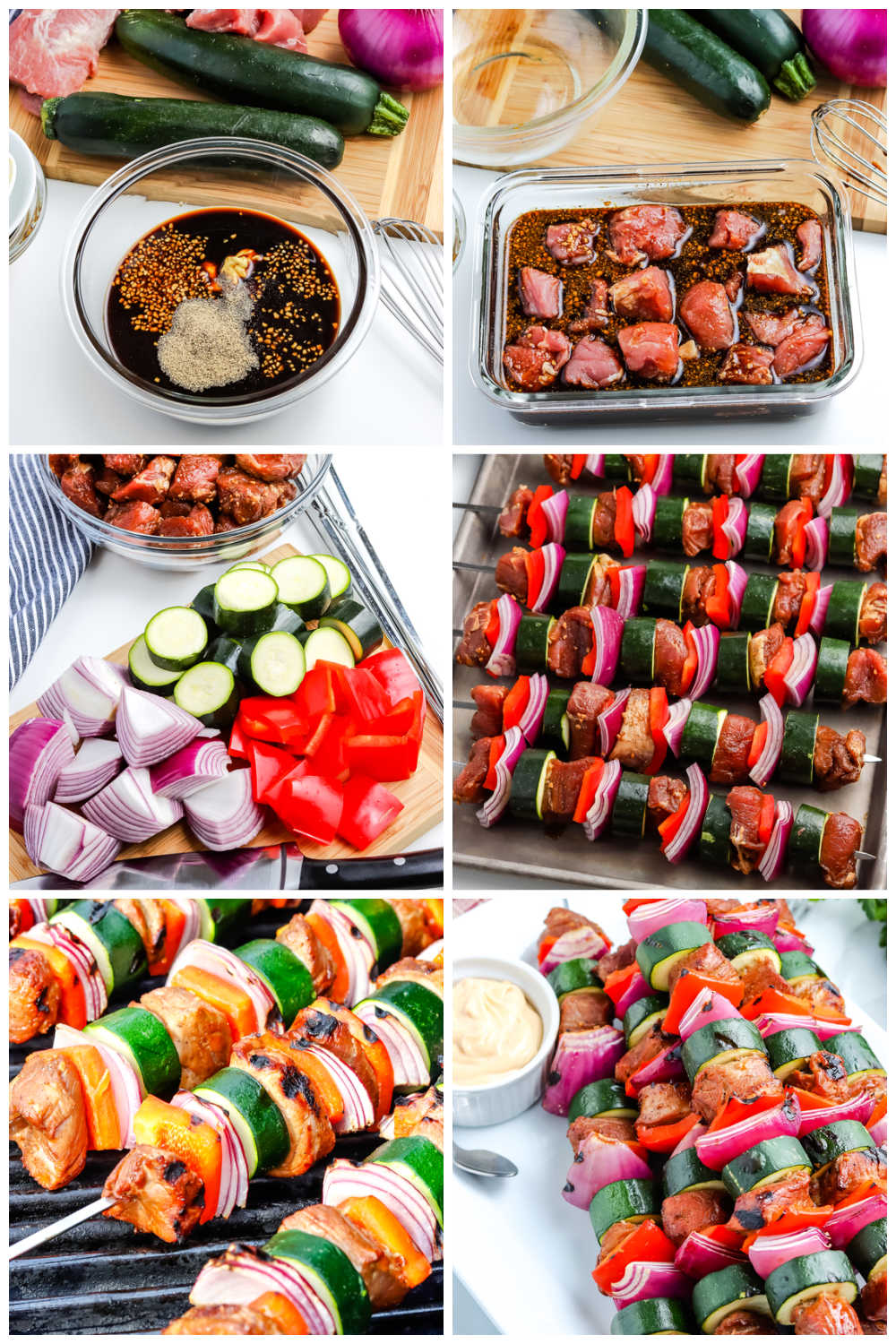 A picture collage of how to make pork kabobs on a gas grill.