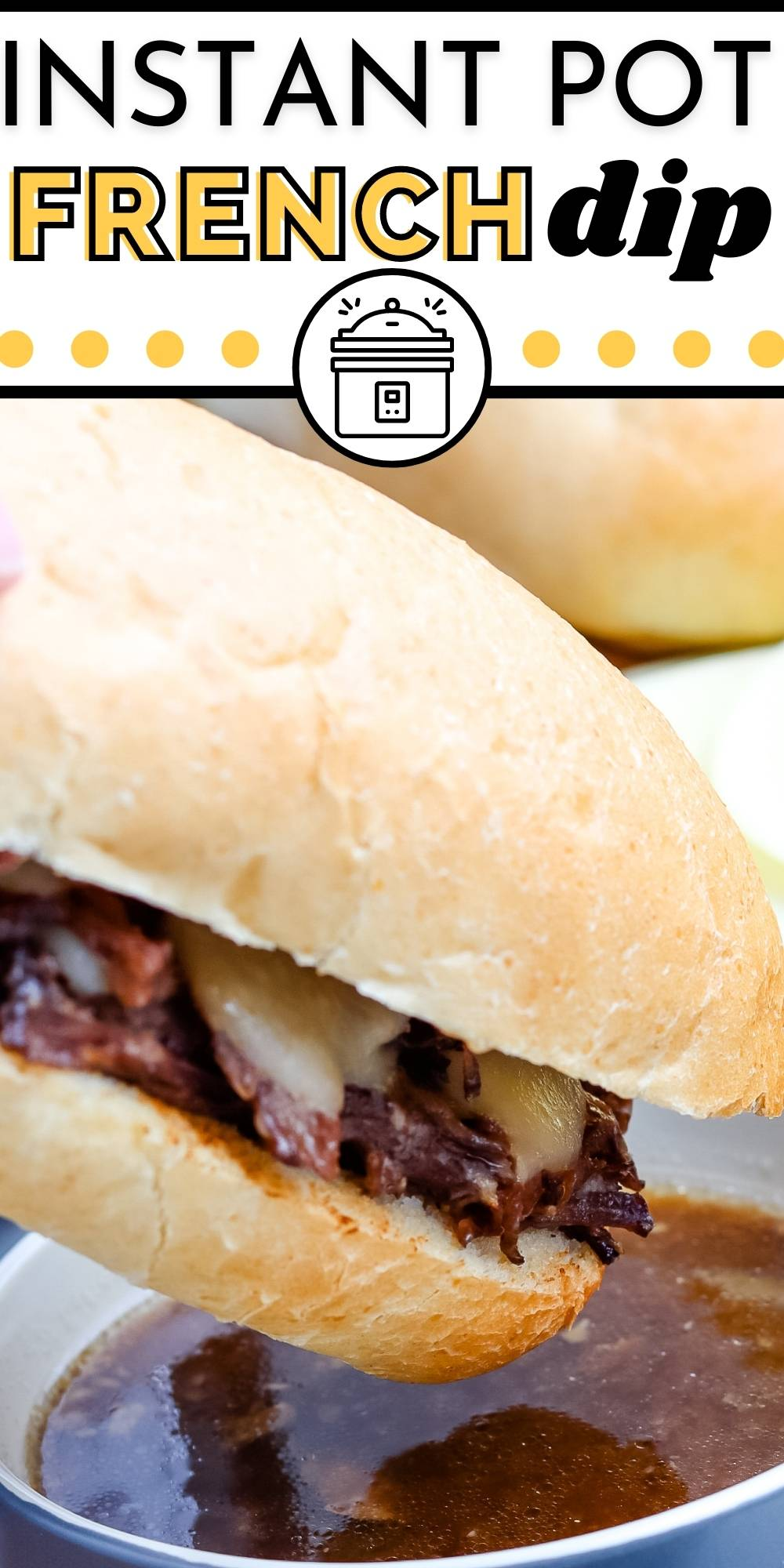 This Instant Pot French Dip Recipe is great when feeding a crowd. Chuck roast is pressure-cooked until it's melt-in-your-mouth tender and then served on hoagie rolls with Provolone cheese. via @easybudgetrecipes