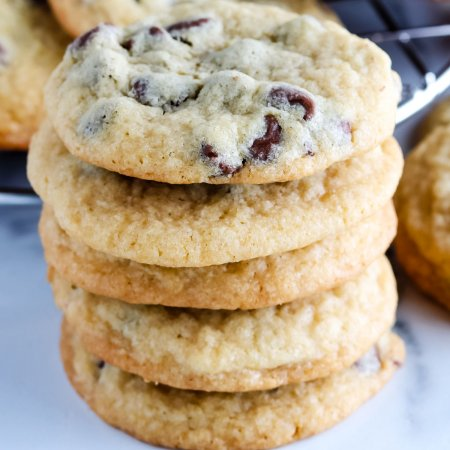 A stack of the finished chocolate chip cookies.