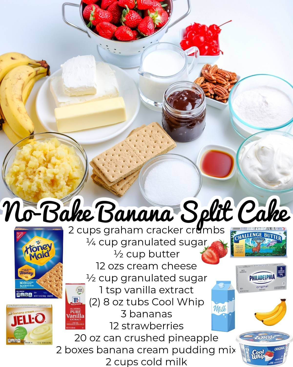 All of the ingredients needed to make this no-bake dessert.