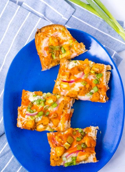 an overhead picture of the finished Buffalo Chicken French Bread Pizza.