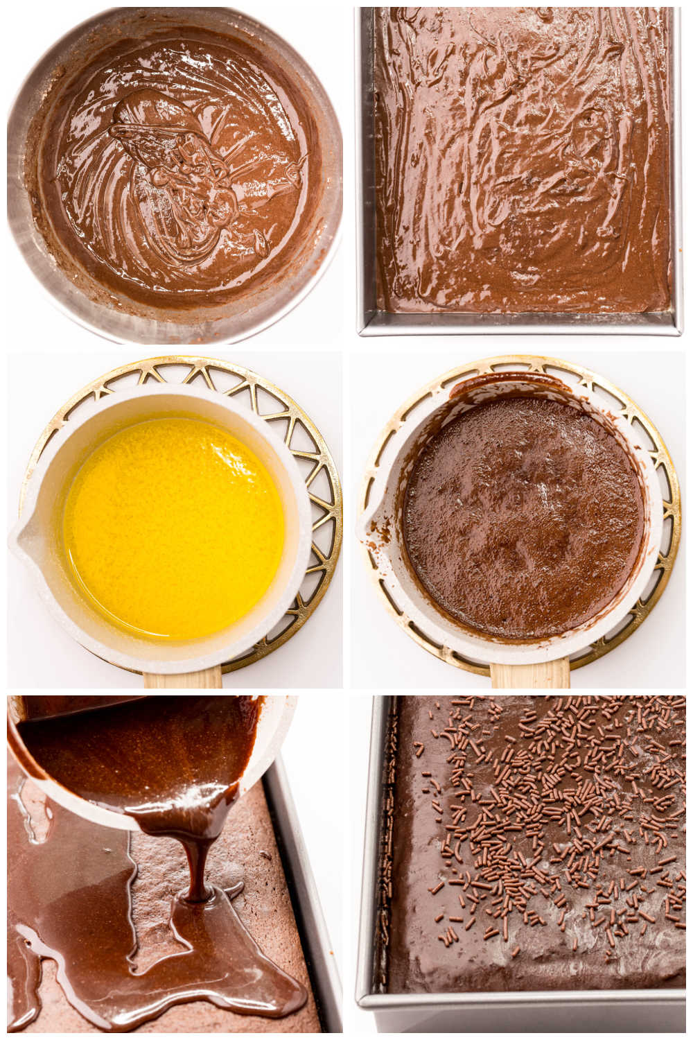 A picture collage of how to make this Dr Pepper Cake recipe.