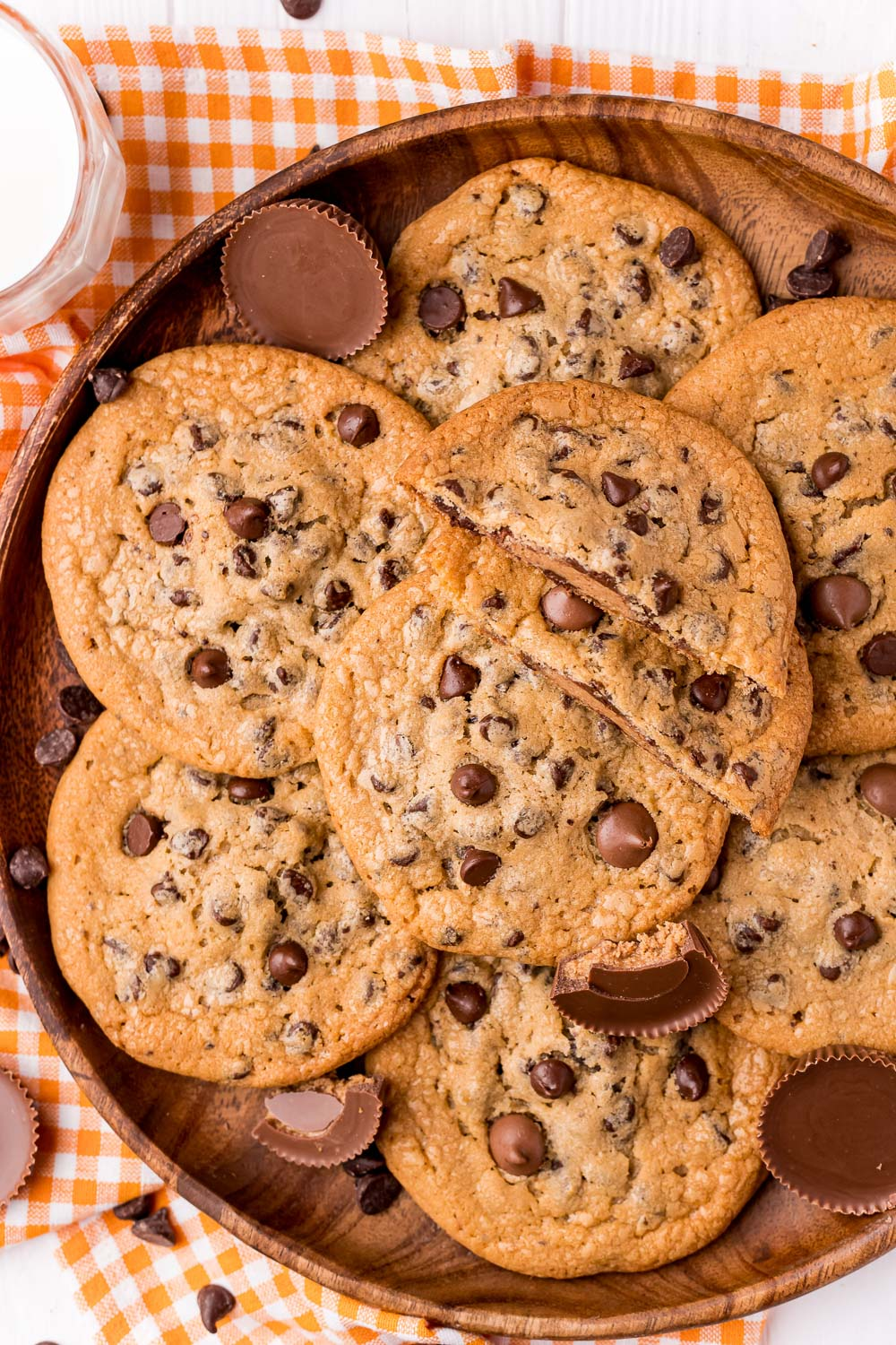 An overhead picture of a pile of Reese's Stuffed Cookies.