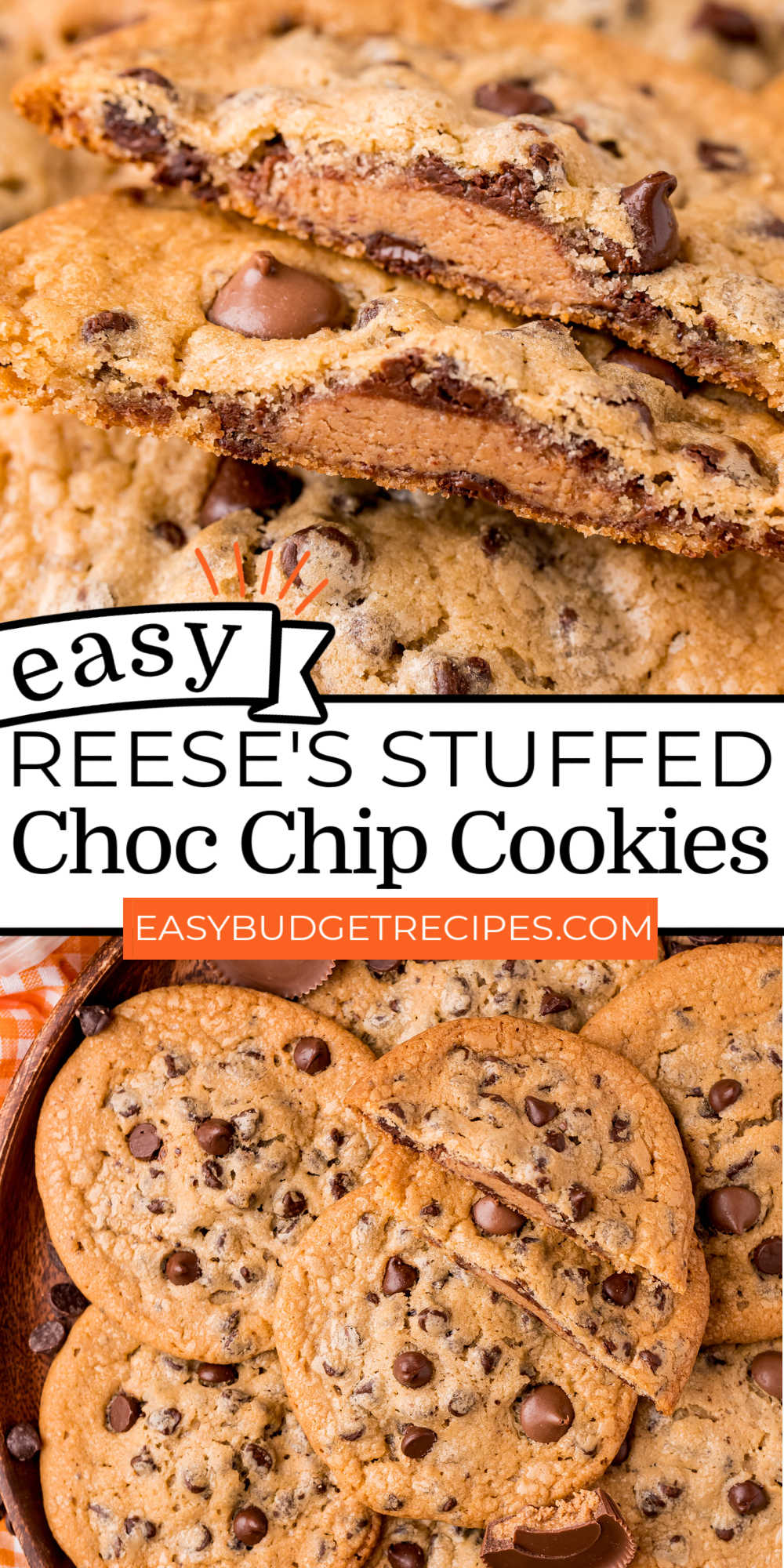 Two ingredients are all that you need to make these Reese's Stuffed Cookies. They're packed with a bit of a surprise that folks will love! via @easybudgetrecipes